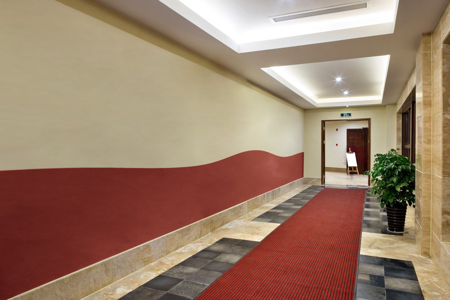 hallway with curved panels