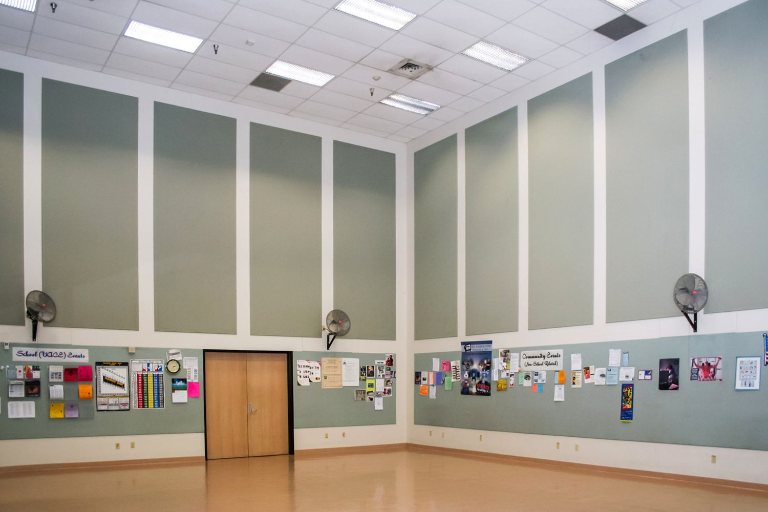 acoustic tackable panels in a gym
