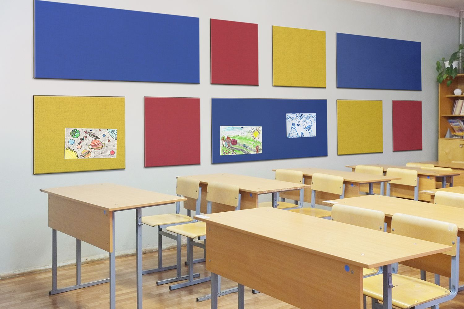classroom with colorful panels