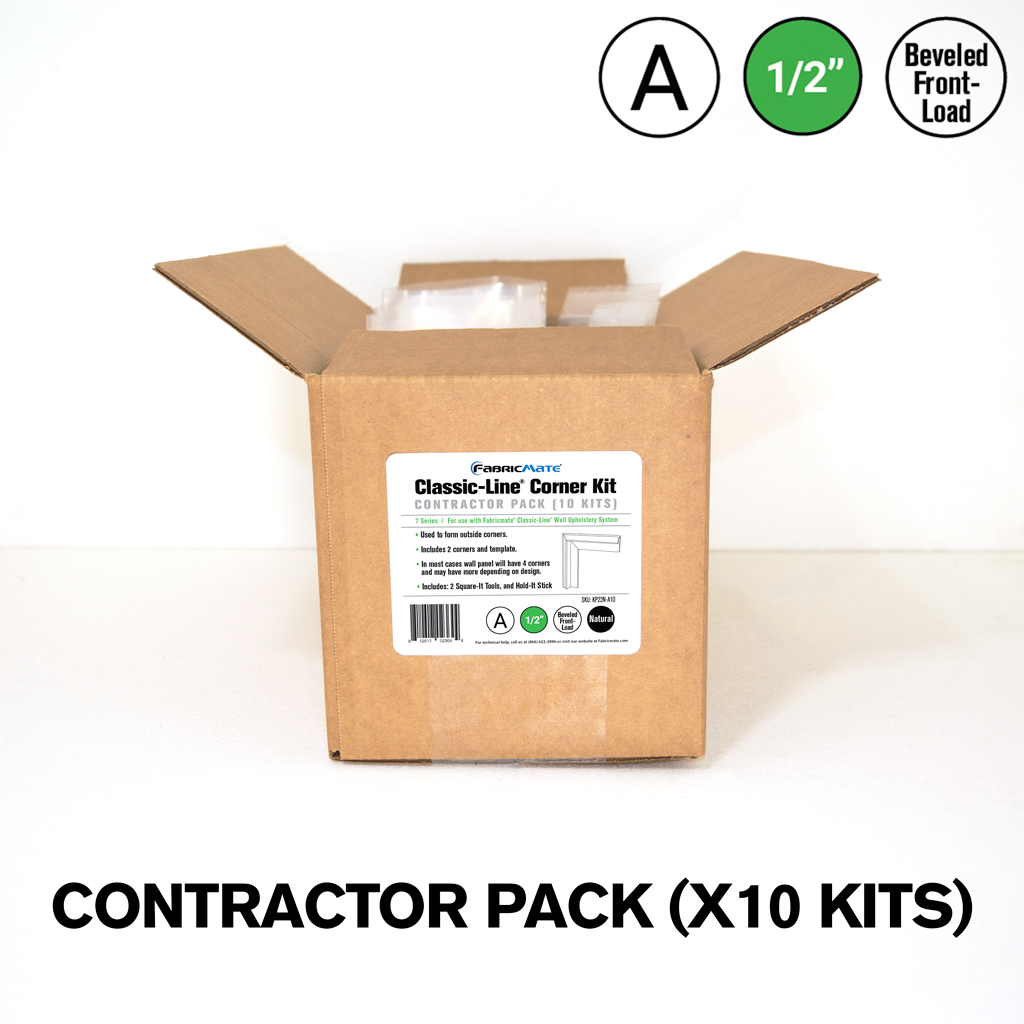 Classic-Line® 1/2 in. Beveled Front-Load A Kit — Fabric Corner Contractor Pack (10 Kits)