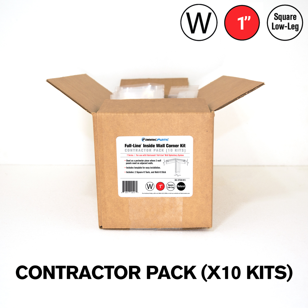 Full-Line® 1 in. Square Low-Leg W Kit — Inside Wall Corner Contractor Pack (10 Kits)